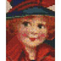 Lány pirosban (10,1x12,7cm)