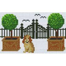 Kutya kerítésnél (20,3x12,7cm)