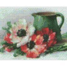 Zöld kancsó virágokkal (25,4x20,3cm)
