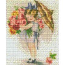 Lány esernyővel (20,3x25,4cm)