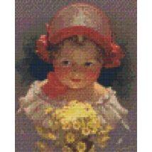 Lány virágcsokorral (20,3x25,4cm)