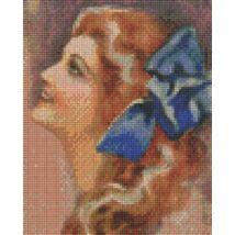 Hölgy kék masinval (20,3x25,4cm)