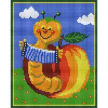 Vidám kukac az almában (20,3x25,4cm)