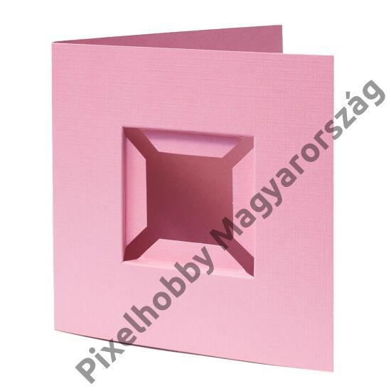 Díszkártya 3D rózsaszín