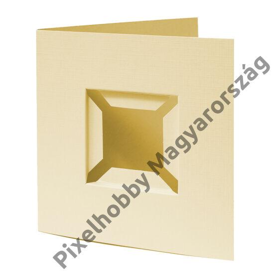 Díszkártya 3D krémsárga