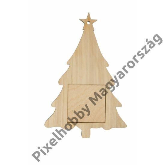 Karácsonyfa fa keret (6x 6cm képhez)