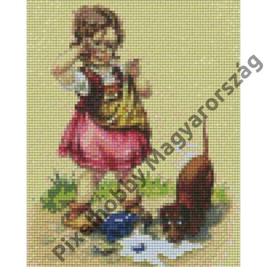 Kislány törött kancsóval és kutyával (20,3x25,4cm)