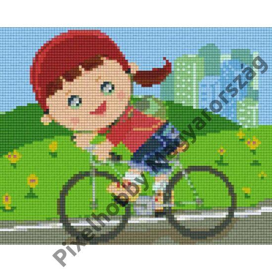 Bicikliző lány (25,4x20,3cm)