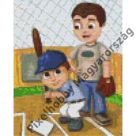 Apa tanítja a fiát (20,3x25,4cm)